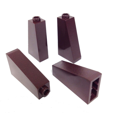 Lego Parts: Slope 75° 2 x 1 x 3 - Hollow Stud (Pack of 4 - Dark Brown)