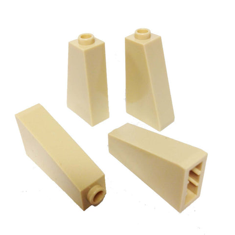 Lego Parts: Slope 75° 2 x 1 x 3 - Hollow Stud (PACK of 4 - Tan)