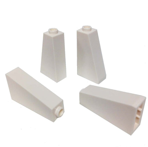 Lego Parts: Slope 75° 2 x 1 x 3 - Hollow Stud (PACK of 4 - White)
