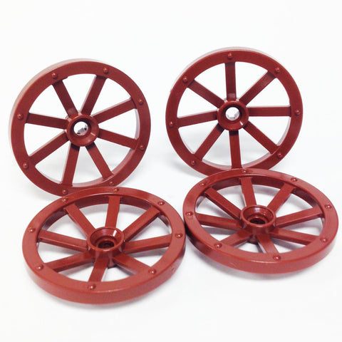 Lego Parts: Wheel Wagon Large (33mm Diameter) (PACK of 4 - Reddish Brown)