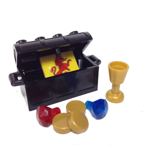 Lego Parts: Treasure Chest/Jewel Pack Bundle (2) 24 Facet Jewels, (1) Black Treasure Chest, (1) Goblet, (3) Gold Doubloons, (1) Coat of Arms Tile