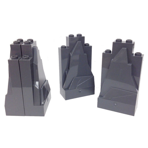 Lego Parts: Rock Panel 2 x 4 x 6 (PACK of 4 - DBGray)