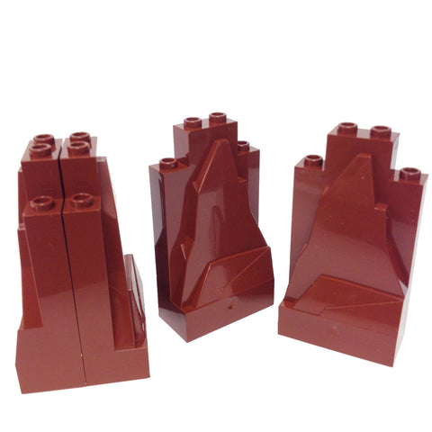 Lego Parts: Rock Panel 2 x 4 x 6 (PACK of 4 - Reddish Brown)