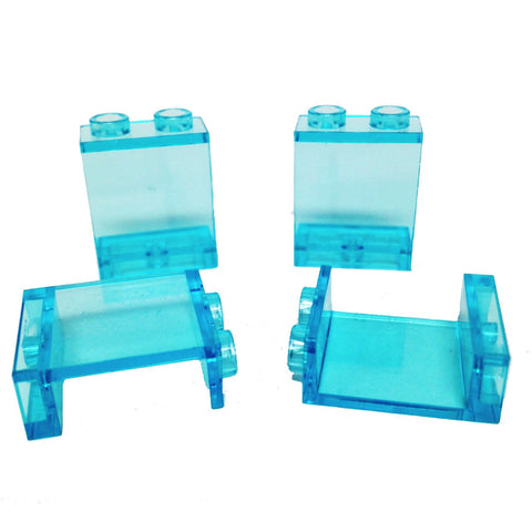 Lego Parts: Panel 1 x 2 x 2 - Hollow Studs (PACK of 4 - Transparent Light Blue)