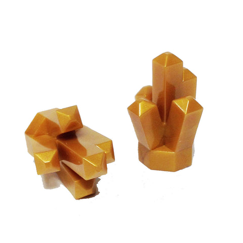 "Lego Parts: Rock 1 x 1 Crystal ""5 Point"" (PACK of 2 - Pearl Gold)"