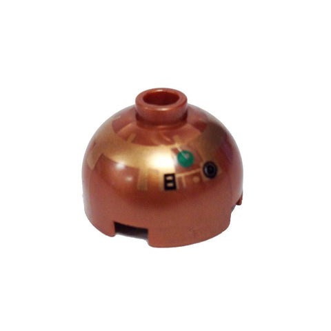 Lego Parts: Brick, Round 2 x 2 Dome Top with Copper Pattern (R4-G9)