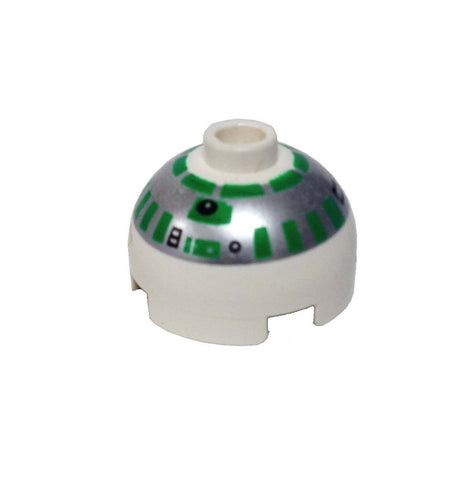 Lego Parts: Brick, Round 2 x 2 Dome Top with Silver and Green Pattern (R2-R7)