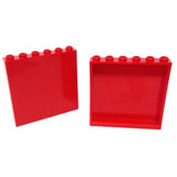 Lego Parts: Panel 1 x 6 x 5 (PACK of 2 - Red)