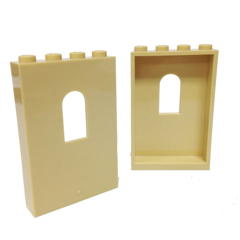 Lego Parts: Panel 1 x 4 x 5 with Window (PACK of 2 - Tan)