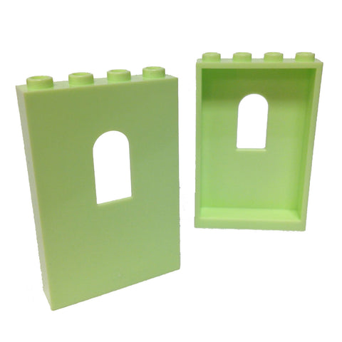 Lego Parts: Panel 1 x 4 x 5 with Window (PACK of 2 - Yellowish Green)