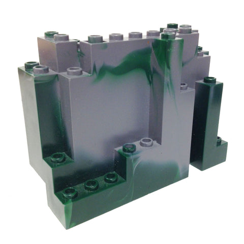 Lego Parts: Rock Panel Rectangular (BURP) (Marbled Dark Green Pattern)