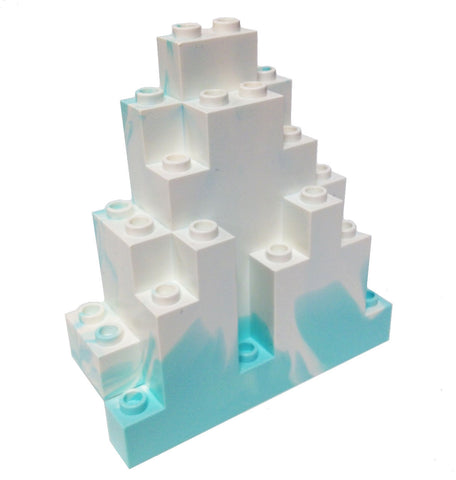 Lego Parts: Rock Panel Triangular (LURP) (Aqua - White Marbled Snow Pattern)
