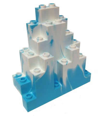 Lego Parts: Rock Panel Triangular (LURP) (Sky Blue - White Marbled Snow Pattern)