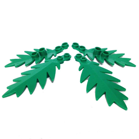 Lego Parts: Plant, Tree Palm Leaf Small 8 x 3 (PACK of 4 - Green Leaves)