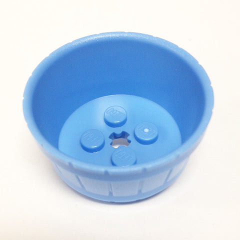 Lego Parts: Container, Barrel Half Large with Axle Hole (Medium Blue)