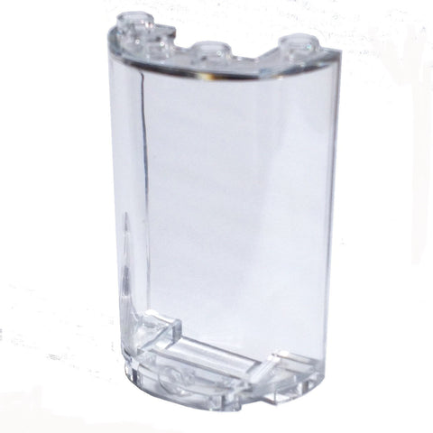 Lego Parts: Cylinder Half 2 x 4 x 5 with 1 x 2 Cutout (Transparent Clear)