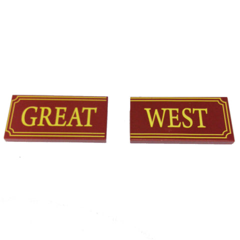 Lego Parts: Tile, Decorated 2 x 4 with 'GREAT-WEST' (Fancy Outline Pattern)
