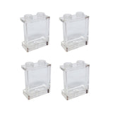 Lego Parts: Panel 1 x 2 x 2 with Side Supports - Hollow Studs (PACK of 4 - Transparent Clear)