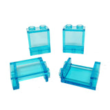 Lego Parts: Panel 1 x 2 x 2 with Side Supports - Hollow Studs (PACK of 4 - Transparent Light Blue)