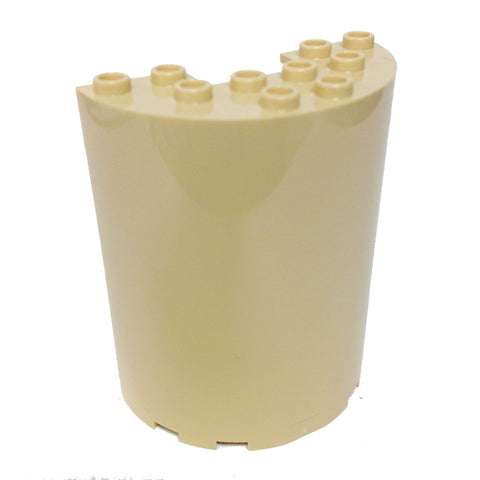 Lego Parts: Cylinder Half 3 x 6 x 6 with 1 x 2 Cutout (Tan)