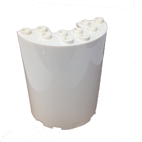 Lego Parts: Cylinder Half 3 x 6 x 6 with 1 x 2 Cutout (White)