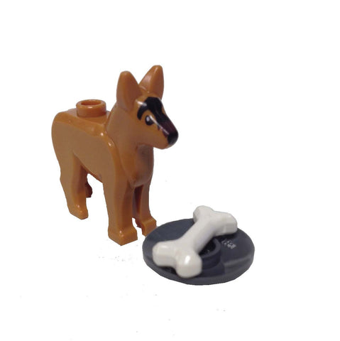 Lego Parts: Land Animal Dog Alsatian / German Shepherd with Dish and Bone (Medium Dark Flesh)