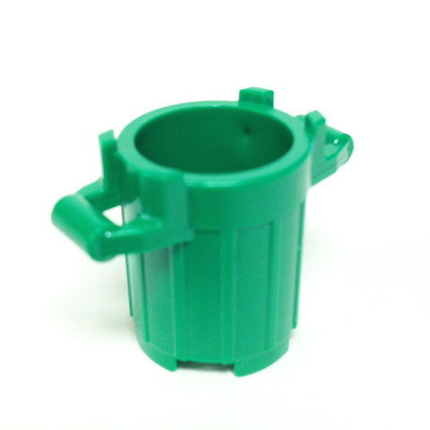 Lego Parts: Trash Can Container with 4 Cover Holder Tabs (Green)