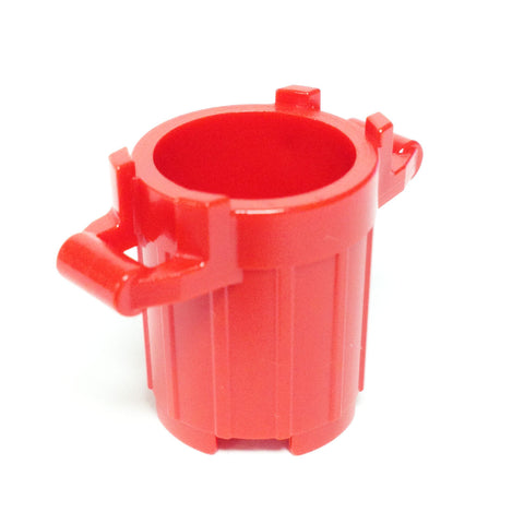 Lego Parts: Trash Can Container with 4 Cover Holder Tabs (Red)