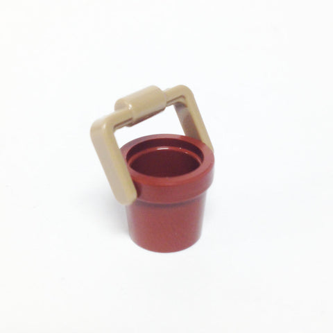 Lego Parts: Container, Bucket 1 x 1 x 1 with Handle (Reddish Brown/Tan)