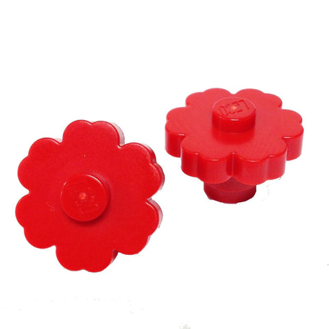 Lego Parts: Plant Flower 2 x 2 - Rounded Solid Stud (PACK of 2 - Red)