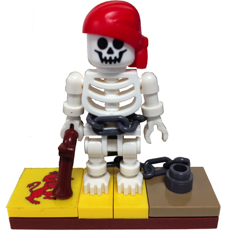 "MinifigurePacks: Lego® Pirates Bundle ""(1) CAPTURED PIRATE SKELETON"" ""(1) FIGURE DISPLAY BASE"" ""(2) FIGURE ACCESSORIES"""