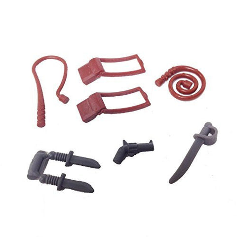 "MinifigurePacks: Lego® Indiana Jones ""TEMPLE ESCAPE"" Weapon Accessories Bundle (2) Whips (2) Satchels (2) Knives (1) Pistol (1) Sword"