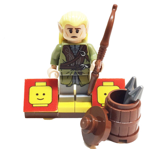 MinifigurePacks: Lego Hobbit Bundle (1) Legolas Minifigure - Lord of the Rings Variant (1) Figure Display Base (4) Figure Accessory's (Barrel & Lid - Harpoons - Long Bow with Arrow)