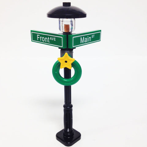 "MinifigurePacks: Lego® City/Town ""STREET SIGN - LAMP POST"" Intersection of Front & Main"