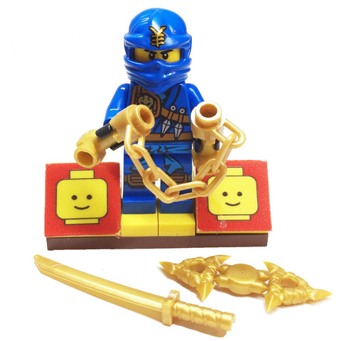 MinifigurePacks: Lego Ninjago Bundle (1) Jay Minifigure - Jungle Variant (1) Figure Display Base (3) Figure Accessory's (Shamshir Sword - Throwing Stars (Shuriken) - Nunchucks)
