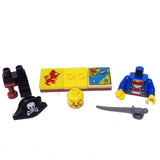 "MinifigurePacks: Lego® Pirates Bundle ""(1) TREASURE HUNT CAPTAIN"" ""(1) FIGURE DISPLAY BASE"" ""(2) FIGURE ACCESSORIES"""