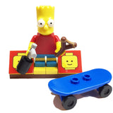 MinifigurePacks: Lego Simpsons Bundle (1) Bart Simpson Minifigure (1) Figure Display Base (3) Figure Accessory's (Skateboard - Spray Can - Slingshot)