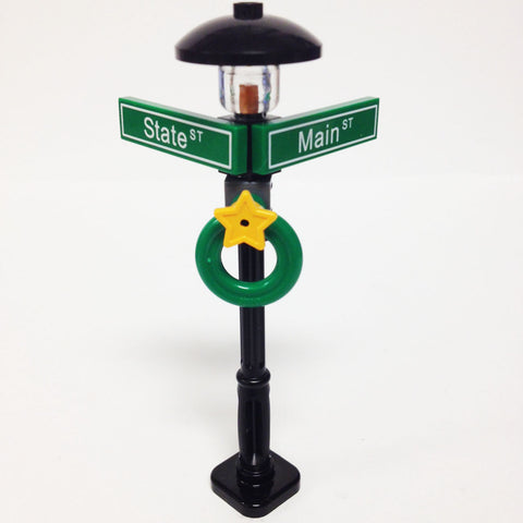 "MinifigurePacks: Lego® City/Town ""STREET SIGN - LAMP POST"" Intersection of State & Main"