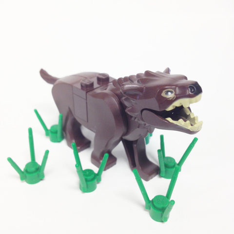 "MinifigurePacks: Lego® The Hobbit - Bundle ""(1) Dark Brown Warg with Black Nose"" ""(6) Grass Stems"" ""(1) Saddle Brick Filler"""