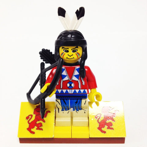 "MinifigurePacks: Lego Western - Indians Bundle ""(1) INDIAN with Red Shirt"" ""(1) FIGURE DISPLAY BASE"" ""(2) FIGURE ACCESSORY'S"""