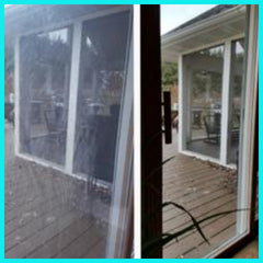 Before and After Cleaning Patio Window with Toryen Microfiber Cleaning Cloth and Water