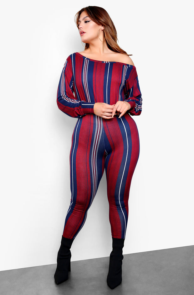 Burgundy Striped Over The Shoulder Long Sleeve Jumpsuit  Plus Sizes