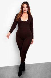 Brown Long Sleeve Bodycon Jumpsuit Plus Sizes