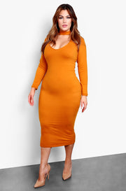 Burnt Orange Long Sleeve Key Hole Bodycon Midi Dress Plus Sizes
