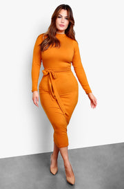 Burnt Orange Long Sleeve Bodycon Tie Front Midi Dress Plus Sizes