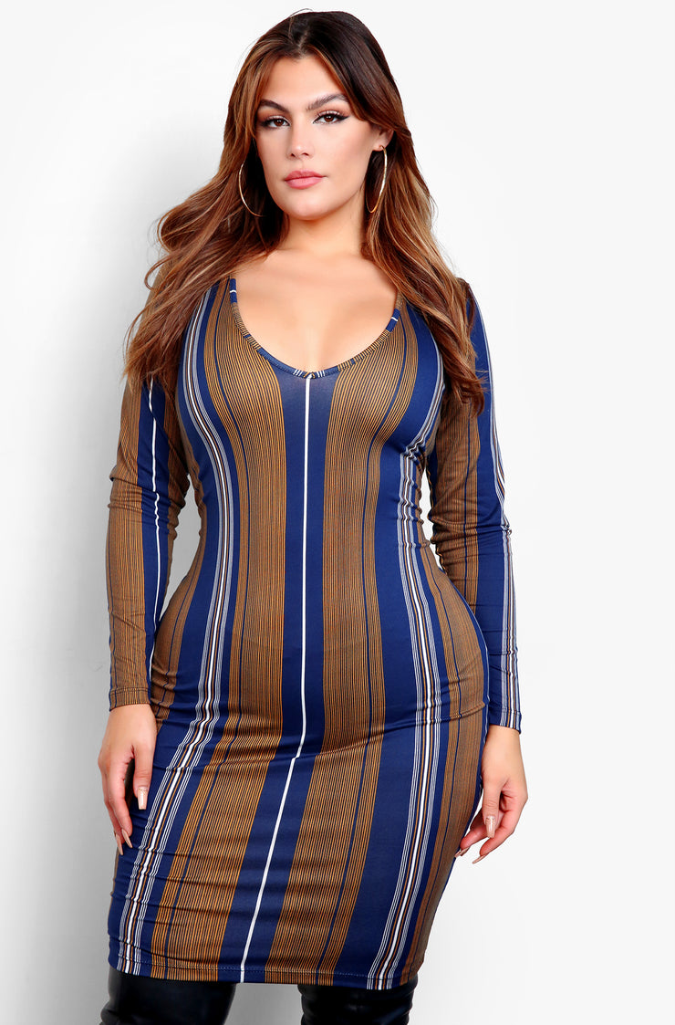 Olive Striped Long Sleeve Bodycon Mini Dress