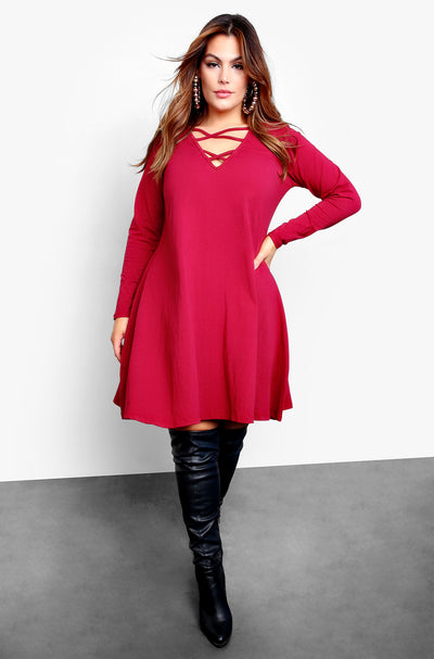 Burgundy Long Sleeve Caged Slip Mini Dress Plus Sizes