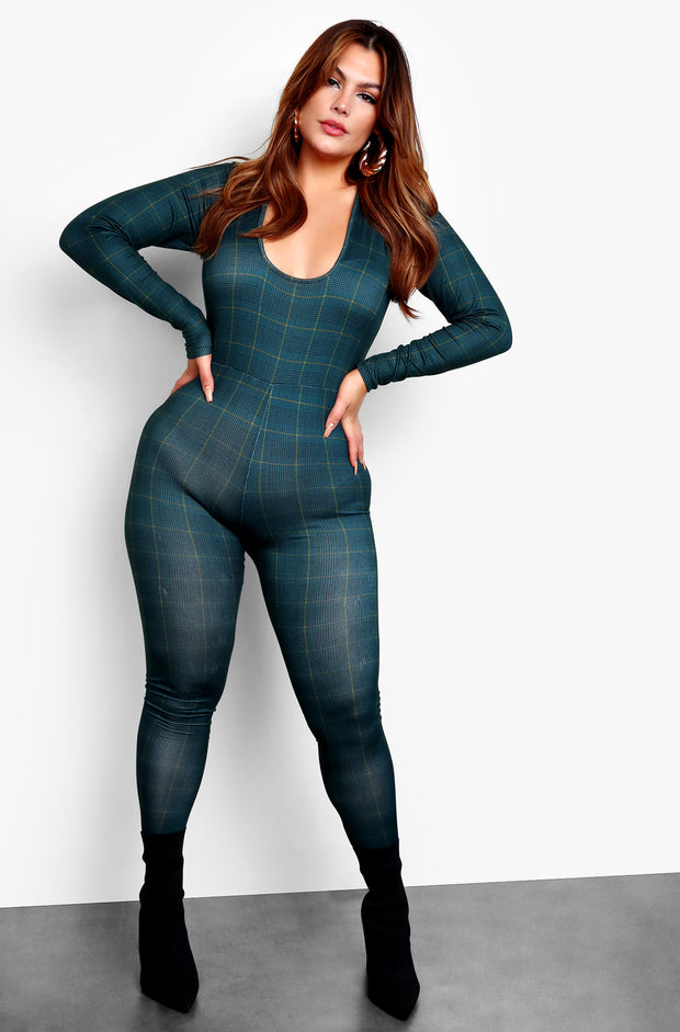 Green Long Sleeve Bodycon Jumper Plus Sizes