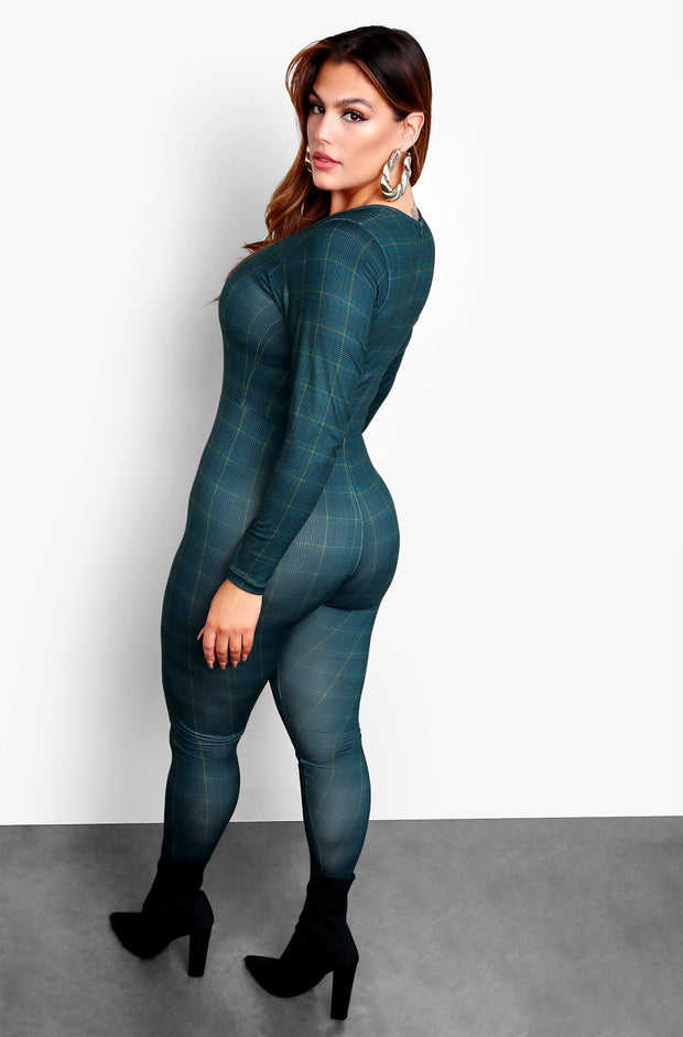"Rebdolls ""Checkmate"" Long Sleeve Bodycon Jumper - Green"