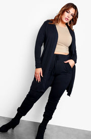 Black Long Sleeve Full Length & High Waisted Tie Front Joggers Set
